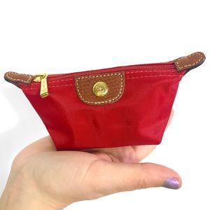 Longchamp Red Le Pliage Coin Case